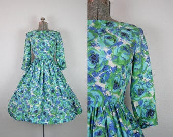 1950's Silk Blue and Green Rose Print Party Dress / Size Small Medium