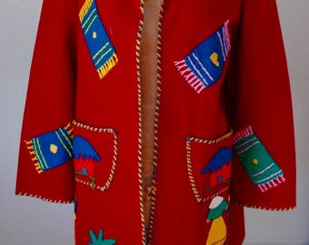 "Vintage Mexican Tourist Jacket  - ""Fiesta Time"" - SUPER SALE!"