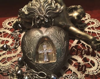 Heart of clay with Swarovski cross welded in silver alloy. Soldered nekclace. Mixed Media, soldered jewelry, Milagros, ex-Voto.