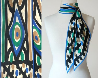 Vintage 70's Vera Neumann Evil Eye Graphic Print Long Silky Neck Scarf in Blue, Cream, Black, Taupe and Green