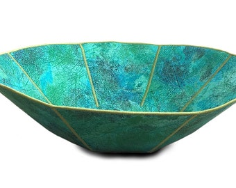 Large Fabric Bowl - Green Turquoise Grunge Cotton Fabric with Imprint of Leaves