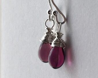Purple Drop Earrings. Small Bead Earrings. Teardrop Earrings. Sterling Silver Earrings. Briolette Earrings. Wire Wrapped Earrings. UK Shop