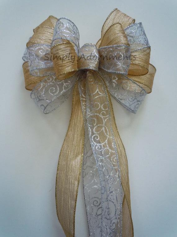 Glitter Swirls Silver Gold Winter Wedding Pew Bows Filigree silver Metallic Crinkle Gold Winter Holidays Wreath Bow Decoration Gift Bow