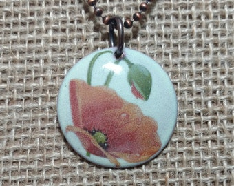 Enameled Poppy Pendant