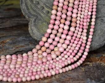 Natural Pink Rhodonite, Round  Beads, Pink Rhodonite, Rhodonite Beads, 4 6 8 10 12mm, (OB009)