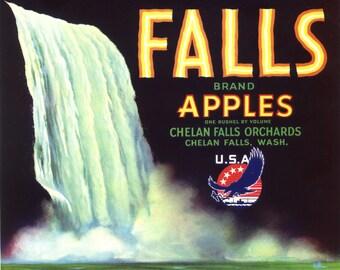 Original vintage apple crate label 1940s Waterfall Falls WWII Logo Chelan Falls Washington State