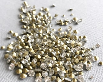 2 mm 3 mm 4 mm loose rhinestones clear gold foil backed navette clear round faceted mixed sizes jewelry replacement stones, 50 pcs