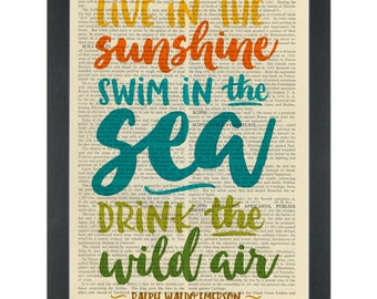 Literary quote Emerson Live in the sunshine Dictionary Art Print