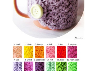 Lilac coffee cup warmer, crochet cup cozy, lilac mug cozy, purple cup cozies, crochet cup cozies, crochet coffee sleeve, cute coffee sleeve