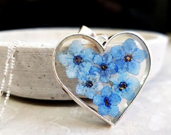 925 Forget-me-not Blossoms Silver Necklace (K925-104)