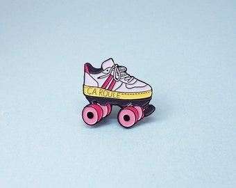 Roller Skate Enamel Pin, Lapel Pin, Badges, Roller Derby, Roller skating, pink yellow and white
