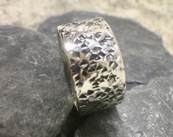 Hammered silver ring, Hammered  silver band ring, Silver ring hammered, Sterling silver band, Textured silver ring, Wide band ring
