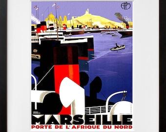 France Wall Art Print Marseille Vintage Travel Poster (TR74)