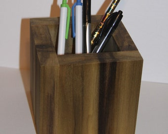 Pencil cup Pen cup Wood Pencil cup Office Desk organizer Square modern Pencil cup School office supplies Rustic pencil cup Cube Pencil cup