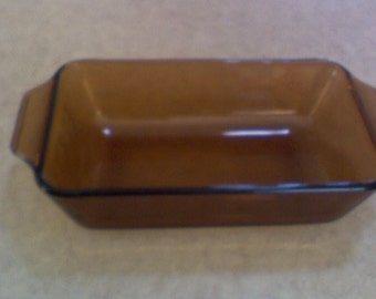 "Anchor Hocking Fire King Amber loaf pan 8x5"" #1409 ribbed outside with handles"