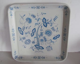 "LG 13"" Blue Onion Platter Serving Tray Blue and White Plates Blue Nordic Blue and White Decor  Blue Onion Meakin Blue onion Pattern"