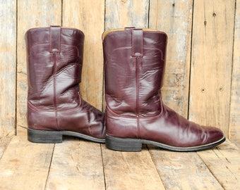oxblood roper boot Tony Lama Roper Us 9 Roper Boot 42 Roper Boot oxblood western boot oxblood cowboy boot round toe boot low heel boot USA