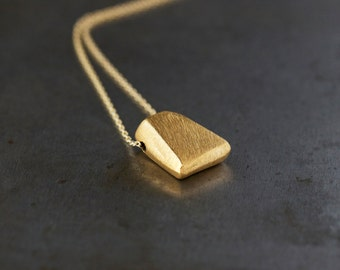 Golden Blade Necklace, Gold Fill Layering Jewelry, Unique Gold Necklace, Brushed Finish, Sliding Design, Modern Style, Daily Chic