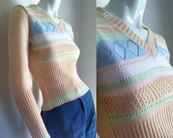 final sale -- Vintage 1970s Pastel Pointelle Sweater