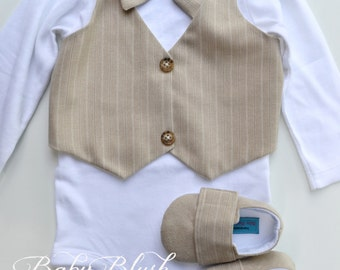 Beige Vest Bow tie Baby Boy Outfit Photo Prop Matching Shoes