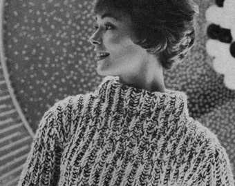 1960s Retro Atomic Sweater -- Quick Knit -- PDF KNITTING PATTERN
