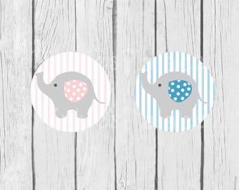 Baby Stickers Boy Girl Gray Elephant Round set of 24