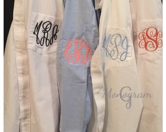 Monogrammed Oxford Shirt/ Bridal Party Shirt/ Bridesmaid Shirt/ Monogram Oxford/ Getting Ready Shirt