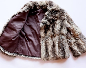 RESERVED the softest (rabbit) fur jacket ever, vintage, beige- brown, size extra small