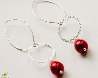 Teardrop Red Ruby Venetian Glass Earrings, Crimson Red Lampwork Earrings, Sterling Silver Circle Earrings, Wedding Jewelry, Long Earrings