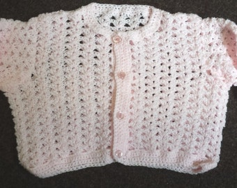 Hand crochet childs cardigan in pale pink, size 25 inch