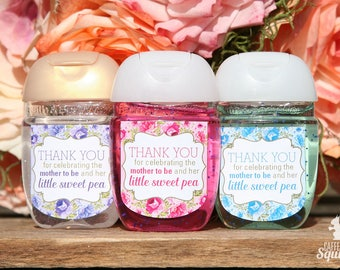 Thank You for Celebrating the Mother to Be and Her Little Sweet Pea Sanitizer Labels - 20 Labels per Pack - Baby Shower, Sanitizers, Flowers