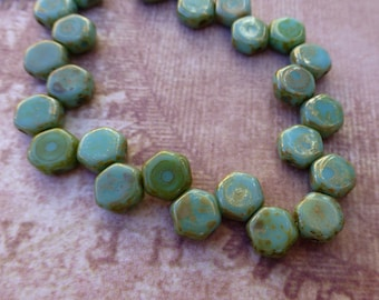 free UK postage Strand of 30 Turquoise Picasso Honeycomb Beads