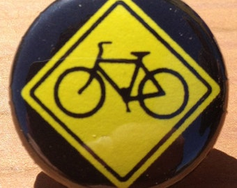 Bicycle Crossing - Button, Magnet, or Bottle Opener