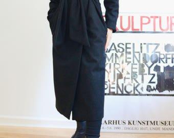 Long grey wool wrap coat, oversized winter coat, robe coat, tie waist coat, minimalist coat, charcoal grey coat, dark grey winter coat