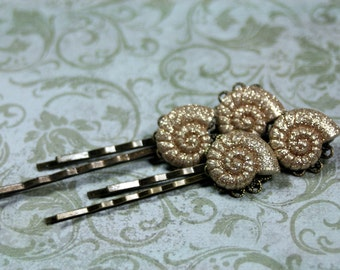 Set of 4 Ammonite Shell Bobby Pins for that Beach Bride Wedding