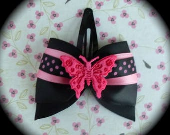 hair clip bow black and fuchsia Butterfly