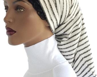 Enkloz Hair Sock™ Cotton Knit Terry Dreads Beanie Hat Dreads Socks Lock Accessory Grey Stripes Long Hair Sock Dreadlock Dreadie Hat Handmade