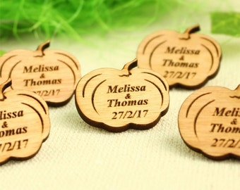 Pumpkin, wedding favor, wedding favor tags, custom tag, wood wedding favor, wood favor, table decor, wedding decor, wedding table decoration