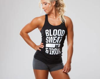 Blood Sweat Iron Workout Tank Top, Workout Clothes, Crossfit Tank Tops, Fitness Tank Tops, Gym Tank Top, Muscle Club Apparel