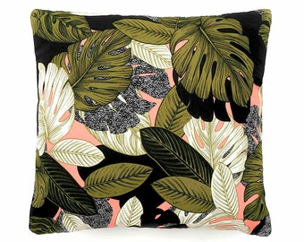 Decorative pillow, cushion cover, graphic leaf print, throw pillow, home accessories, pillow cover, jungle print, cushion, foliage fabric