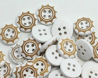 """10 White and Tan Edged 1/2"""" Buttons 2 Hole Buttons For  Sweaters, Knitting, Sewing, Button Crafts, Scrapbooking"""