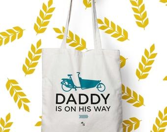 "Bag ""Daddy is on his way"", Tote bag celebrating fathers, bag, bag bike, cargo, shopping bag, cloth bag, cotton, french, gift bag"