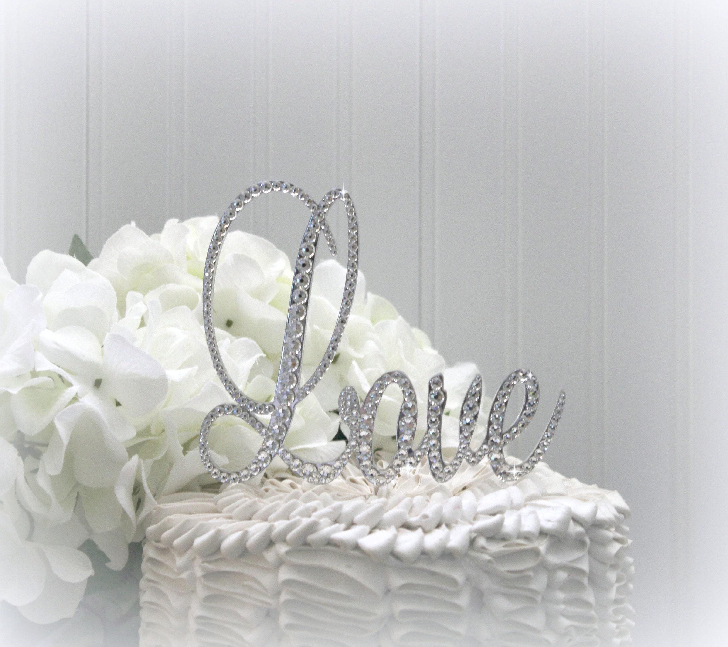 Love Wedding Cake Toppers Rhinestone Cake Topper Bling Love