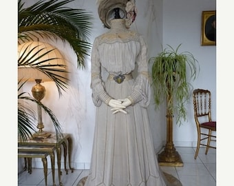 ON SALE 1902 HAAS Reception Gown, antique Dress, Edwardian Dress, New York, dated 1902