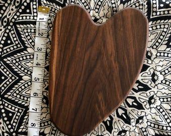 "Walnut ""heart""-shaped cheese tray / cutting board"