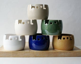Choose your colour - Wool yarn bowl, hand thrown custom pottery yarn bowl