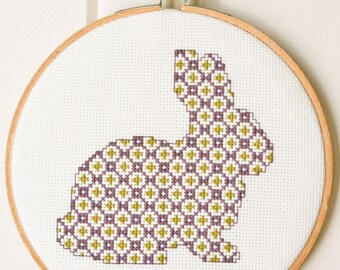 Cross stitch pattern PDF - Cute bunny in purple and green
