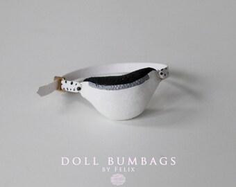 Black and white sugar no7 - bum bag - miniature fashion for dolls - Blythe Licca Pullip Dal - handmade doll accessories by MissFelix