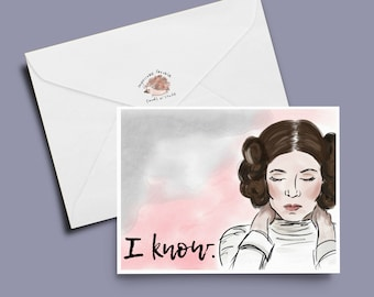 Princess leia card, star wars card, rogue one card: I know.