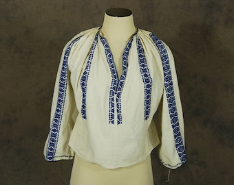 vintage 70s Peasant Blouse - 1970s Hungarian Peaseant Blouse Blue Embroidered Shirt Sz M